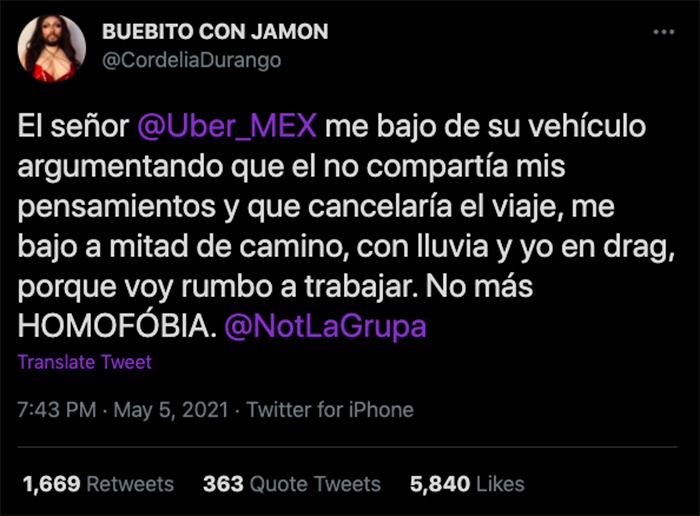 Cordelia durango twitter publicacion uber