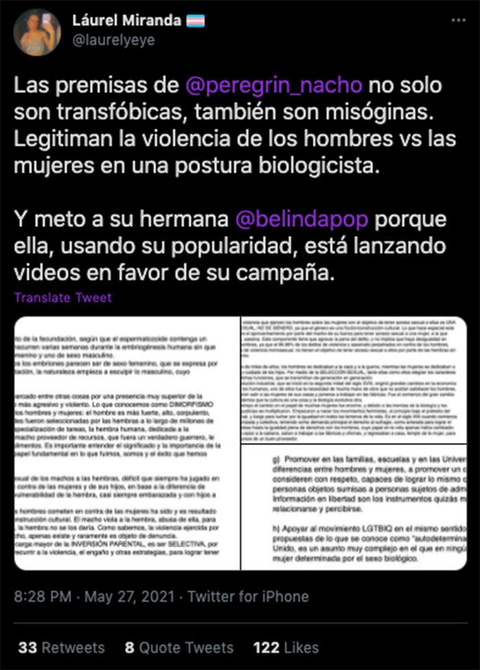 nacho peregrin belinda propuestas transfobicas