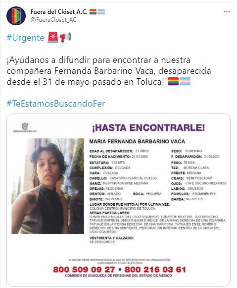 Fernanda Barbarino desaparecida en Estado de México