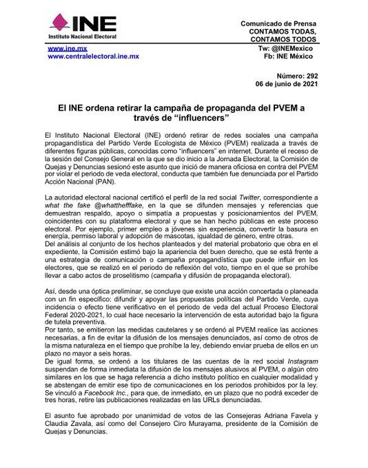 INE sanciona al PVEM por violar veda electoral