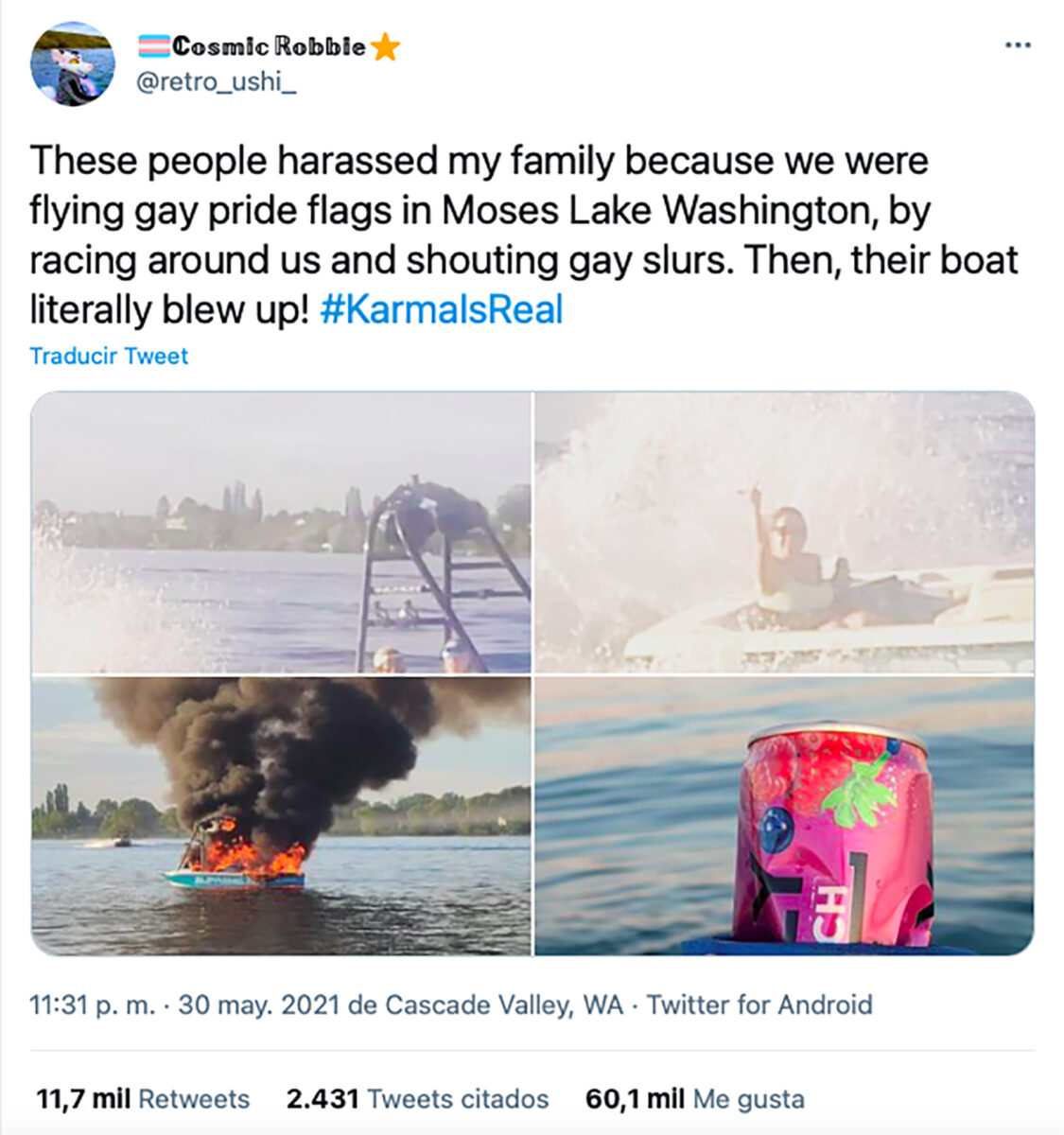 homofóbicos atacan LGBT+ lancha explota Washington