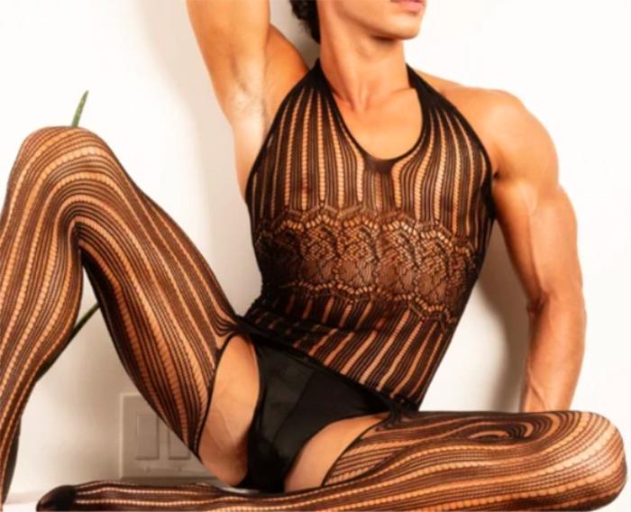 hombre liguero bodysuit