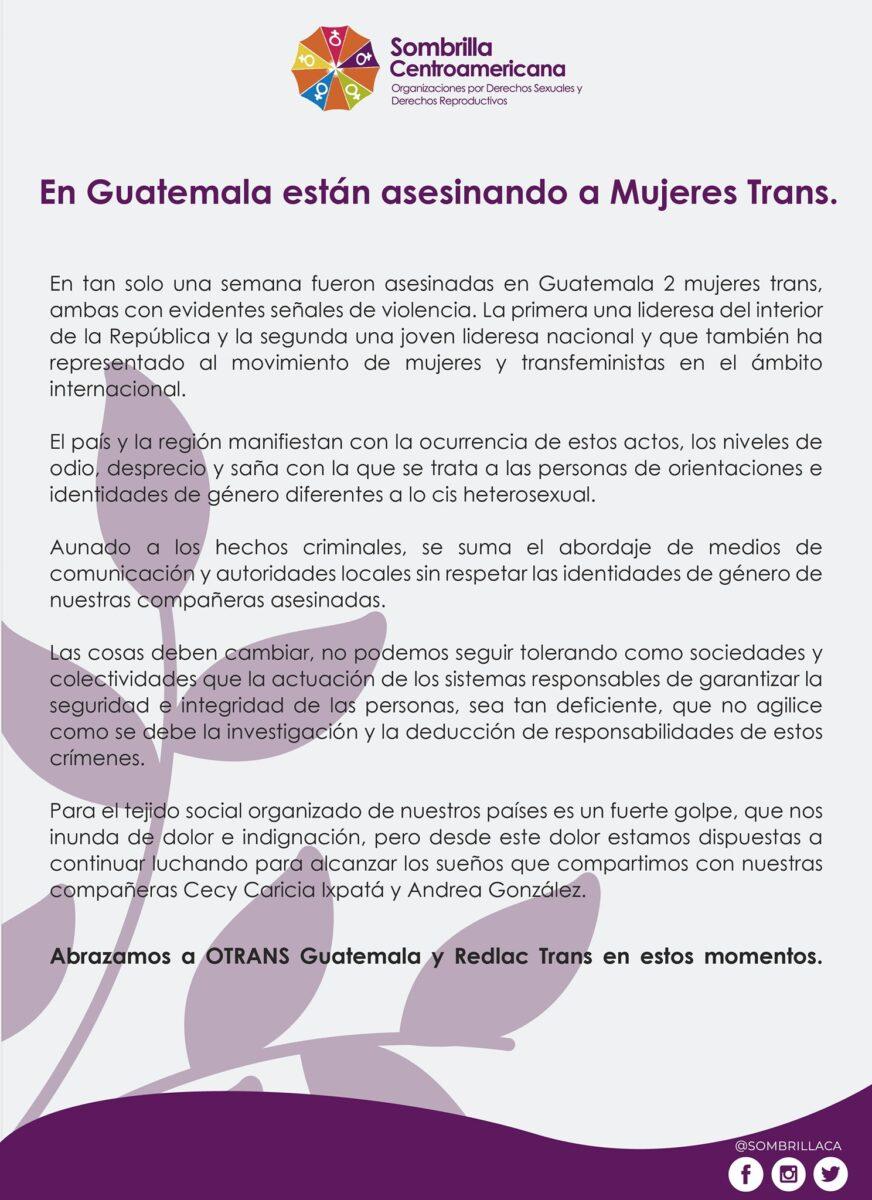 sombrilla centroamericana asesinatos trans 2021