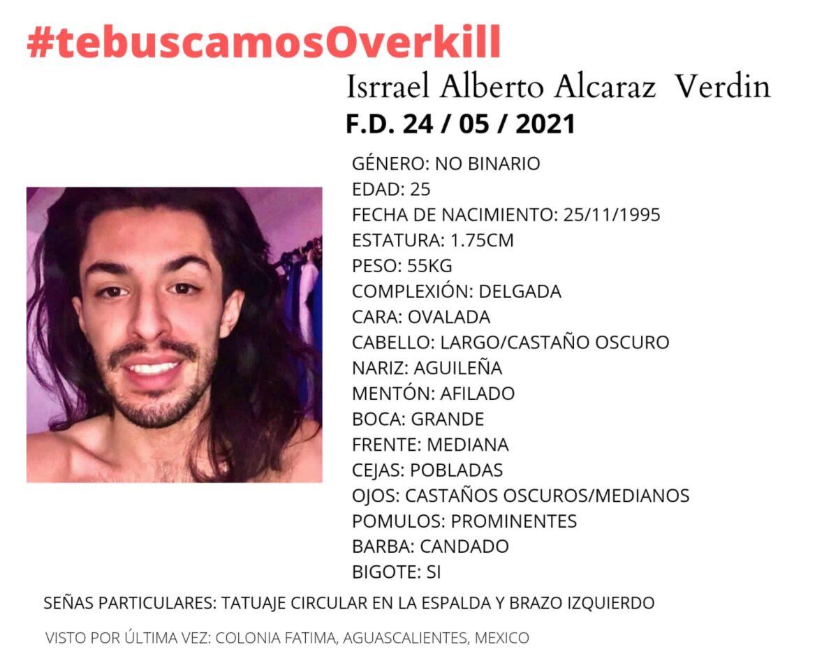 Israel Alberto Alcaraz Verdin, activista conocide como Overkill