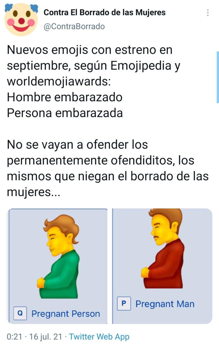 Reacciones a emoji de hombre embarazado y persona embarazada