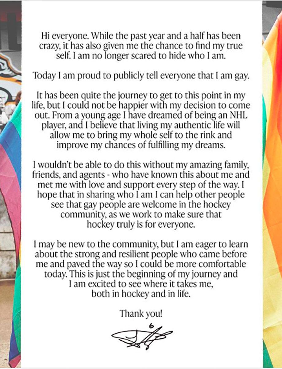 Luke Prokop gay jugador de hockey