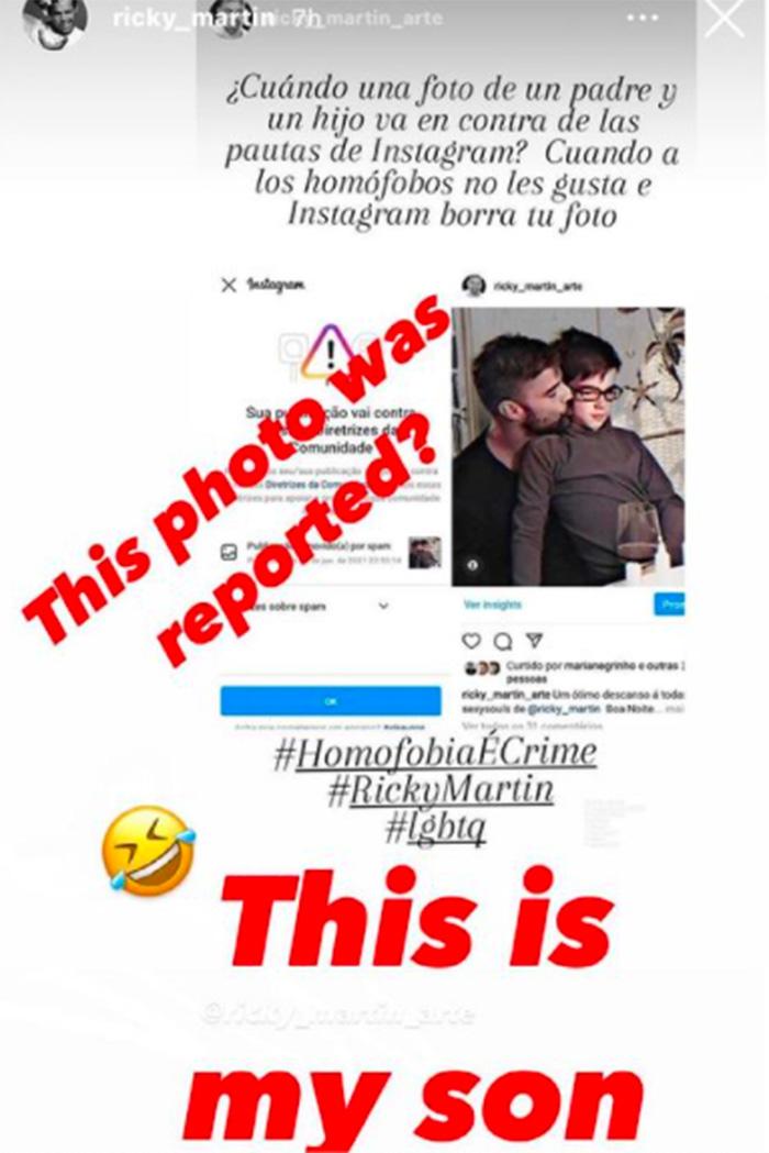 ricky martin instagram homofobia publicacion