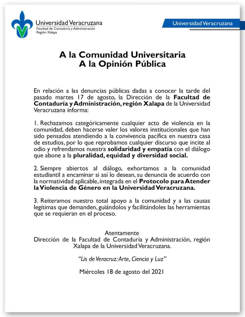 comunicado universidad veracruzana video marranadas mauricio pavón universidad veracruzana