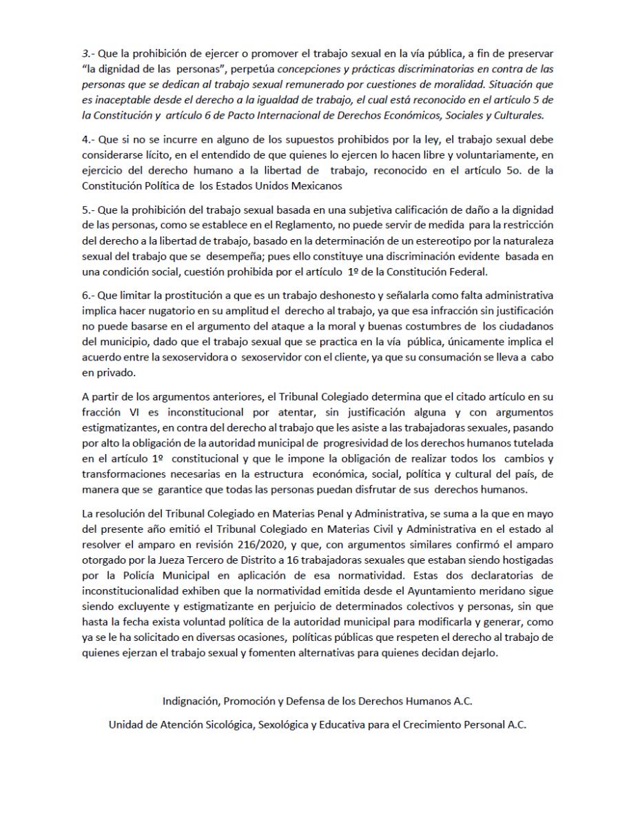 Trabajadoras sexuales ganan amparo a alcalde de Mérida