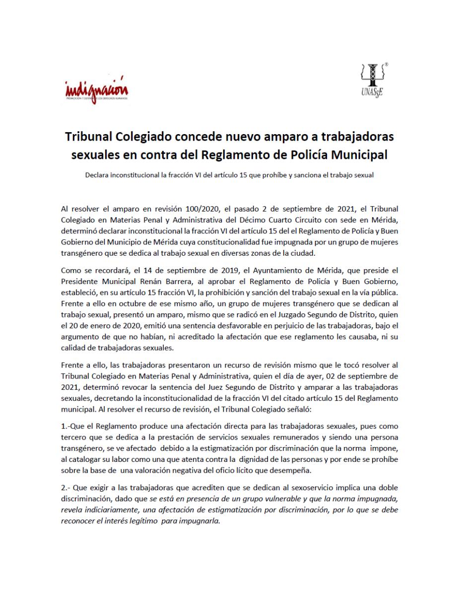 Trabajadoras sexuales trans de Mérida ganan amparo